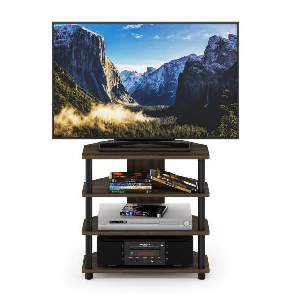 Furinno Turn N Tube 24 In Columbia Walnut And Black Composite Tv Stand Fits Tvs Up To 32 In With Open Storage 15093cwnbk The Home Depot