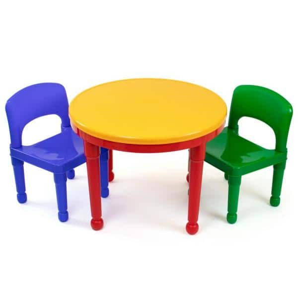 Humble Crew Primary 2-in-1 Plastic LEGO-Compatible Kids Activity Table and 2 Chairs Set | The Home Depot