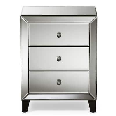 Chevron 3-Drawer Silver Mirrored Nightstand