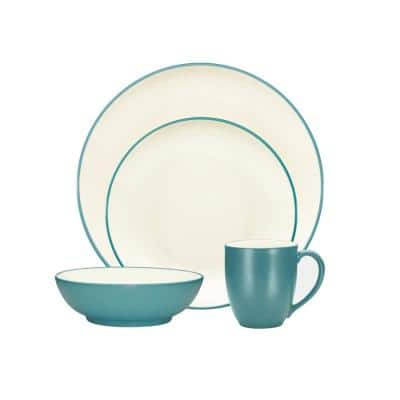 Colorwave Turquoise Stoneware Coupe 4-Piece Place Setting (Service for 1)