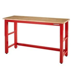 Ready-to-Assemble 6 ft. Adjustable Height Solid Wood Top Workbench in Red