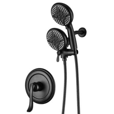 Single-Handle 24- -Spray Shower Faucet and Handheld Shower Combo with 5 in. Shower Head in Matte Black (Valve Included)