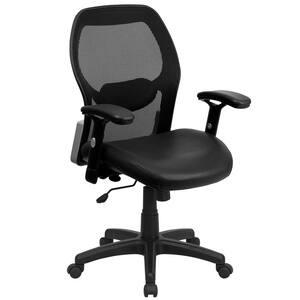 Black Leather/Mesh Office/Desk Chair
