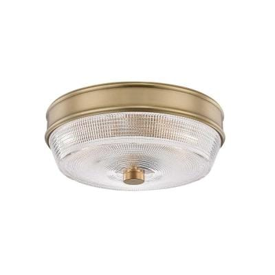 Lacey 10.25 in. 2-Light Aged Brass Flush Mount