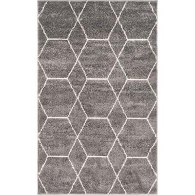 Trellis Frieze Dark Gray/Ivory 3 ft. x 5 ft. Geometric Area Rug