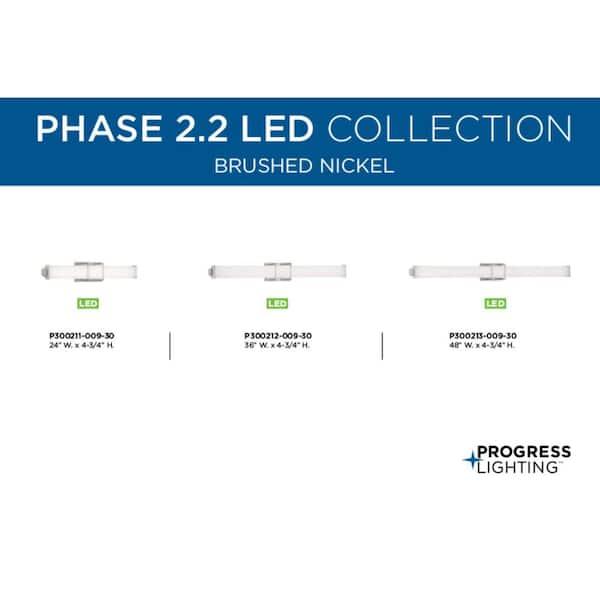 Progress Lighting Phase 2 2 Led Collection 24 Brushed Nickel White Shade Modern Bath Vanity Light P300211 009 30 The Home Depot