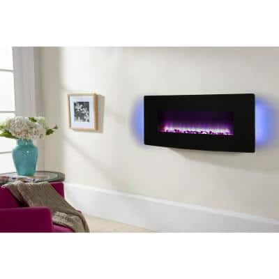 42 in. Curved Front Wall-Mount Electric Fireplace in Black