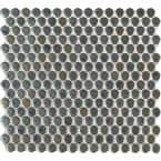 Penny Round Metallico 12.2 in. x 11.3 in. x 6mm Glossy Porcelain Mesh-Mounted Mosaic Tile (14.4 sq. ft./case)