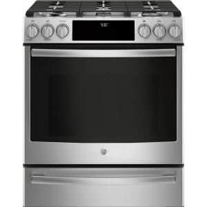 Profile 5.6 cu. ft. Smart Slide-In Dual Fuel Range with Self-Cleaning and Convection Oven in Stainless Steel
