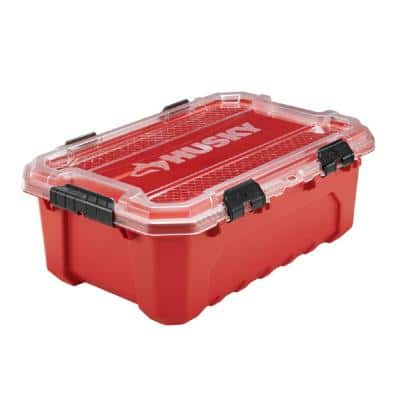 Professional 12 Gallon Waterproof Storage Container with Hinged Lid in Red