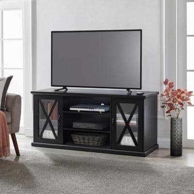 55 in. Black Entertainment Center with 2-Display Console Fits TV's up to 65 in. with 3-Storage Shelves