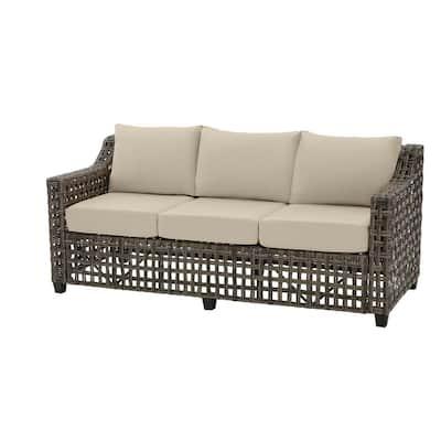 Briar Ridge Brown Wicker Outdoor Patio Sofa with CushionGuard Putty Tan Cushions