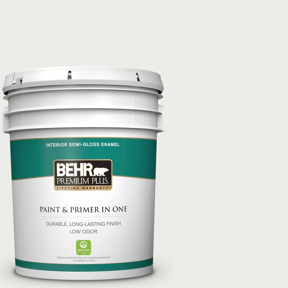 Behr Premium Plus 5 Gal Bl W14 White Semi Gloss Enamel Low Odor Interior Paint And Primer In One 305005 The Home Depot