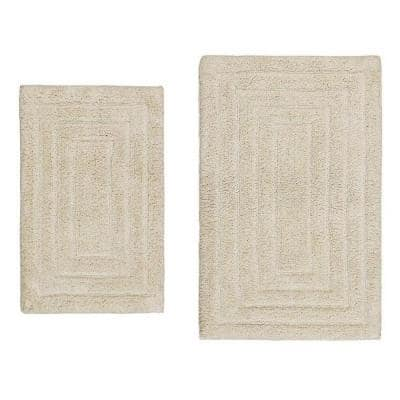 Ivory 21 in. x 34 in. and 24 in. x 40 in. Racetrack Bath Rug Set (2-Piece)