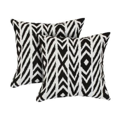 Fire Island/Charcoal Square Accent Outdoor Throw Pillow (Set of 2)