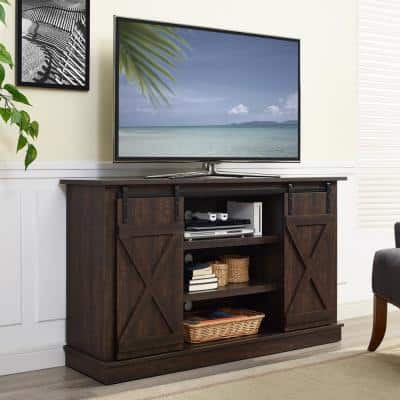Toni 16 in. Espresso Wood TV Stand Fits TVs Up to 42 in. with Storage Doors