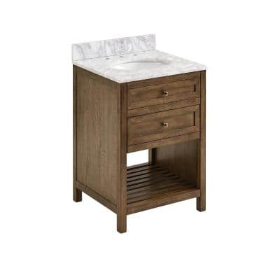 24 in. W x 22 in. D Bath Vanity in Weathered Brown with Carrara Marble Vanity Top in White/Gray with White Basin