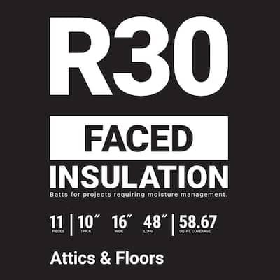 R-30 Kraft Faced Fiberglass Insulation Batt 16 in. x 48 in. (8-Bags)