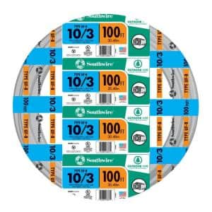 100 ft. 10/3 Gray Solid CU UF-B W/G Wire