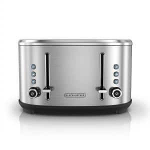 4-Slice Stainless Steel Extra-Wide Slot Toaster with Crumb Tray