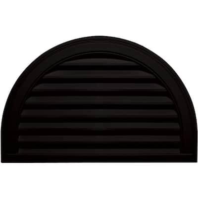 34.1875 in. x 22.128 in. Half Round Black Plastic Built-in Screen Gable Louver Vent