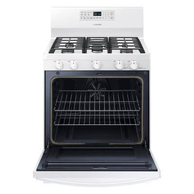 30 in. 5.8 cu. ft. Gas Range with Self-Cleaning and Fan Convection Oven in White