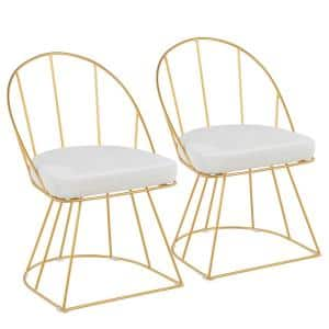 Canary Gold and White Velvet Dining Chair (Set of 2)