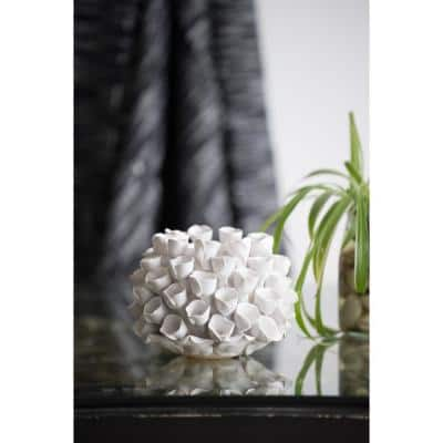 Open Coral Gloss White Ceramic Candle Holder