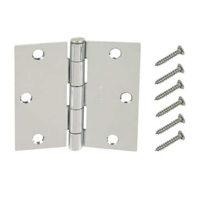 3-1/2 in. Chrome Square Corner Door Hinges Value Pack (3-Pack)