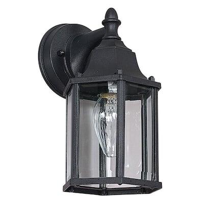 1-Light Black Outdoor Lantern Sconce