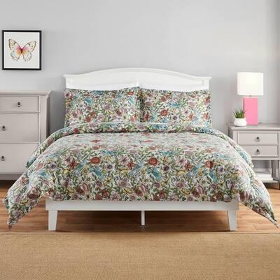 Eva 2-Piece Whimsy Floral Cotton Blend Twin Comforter Set