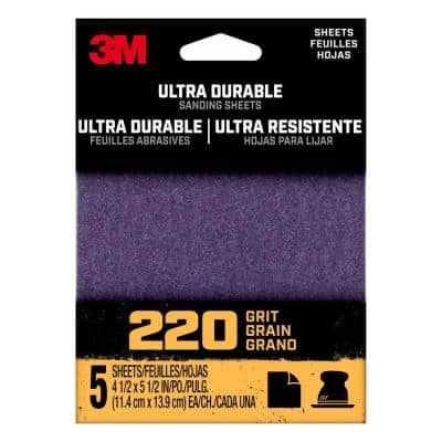 4.5 in. x 5.5 in. 220-Grit Ultra Durable Power Sanding (1/4 Sheet, Case of 20, 5-Packs)