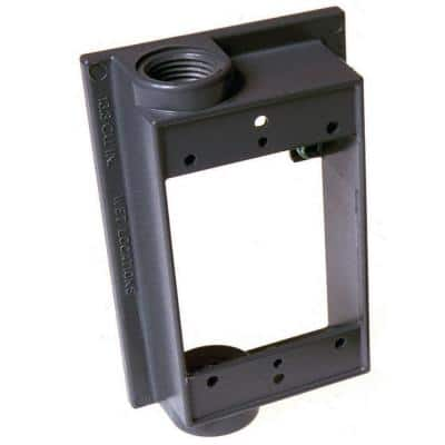 Gray 1-Gang Weatherproof Extension Adapter with Two 1/2 in. Threaded Outlets