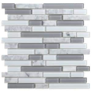 Noriker White and Gray 11.57 in. x 10.85 in. x 5mm Glass and Stone Peel and Stick Wall Mosaic Tile (0.87 sq. ft./Each)