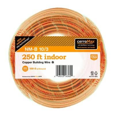 250 ft. 10/3 Orange Solid CerroMax SLiPWire CU NM-B W/G Wire
