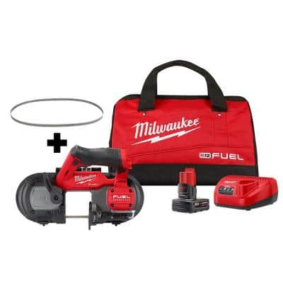M12 FUEL 12-Volt Lithium-Ion Cordless Compact Band Saw XC Kit with (4) Band Saw Blades