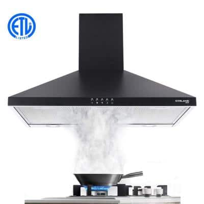 36 in. Wall Mount Range Hood in Black Stainless Steel with Aluminum Filters LED Lights, Push Button Control
