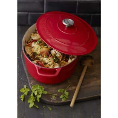 French Enameled 7.25 qt. Oval Cast Iron Dutch Oven in Red with Lid