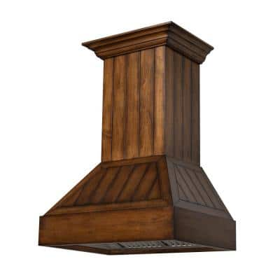 30 in. Convertible Vent Wall Mount Wooden Range Hood with lights in Rustic Light Shiplap Finish (349LL-30)