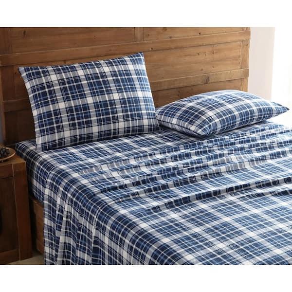 Cotton Navy Flannel Queen Sheet Set, 100 Cotton Queen Bed Sheet Set