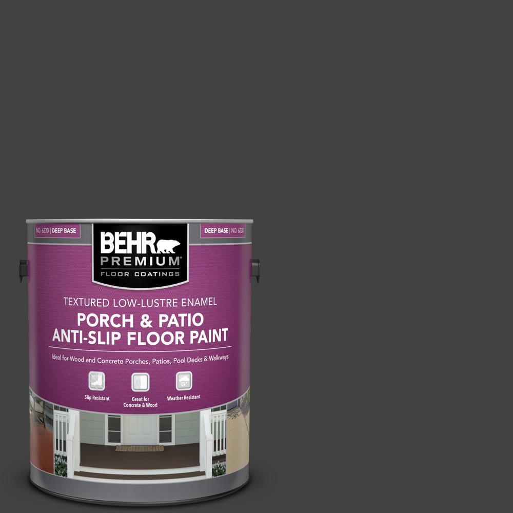 Behr Premium 1 Gal Pfc 75 Tar Black Textured Low Lustre Enamel Interior Exterior Porch And Patio Anti Slip Floor Paint 623001 The Home Depot