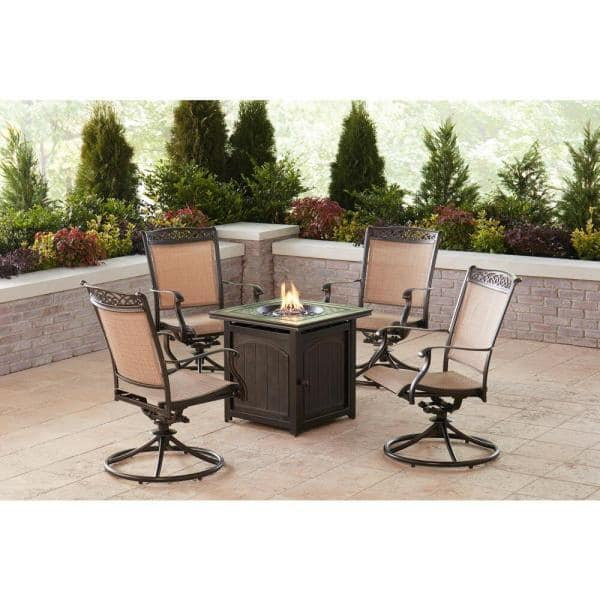 Hanover Fontana 5 Piece Aluminum Patio Fire Pit Conversation Set With Swivel Rockers And Table Fnt5pcswfpsq The Home Depot