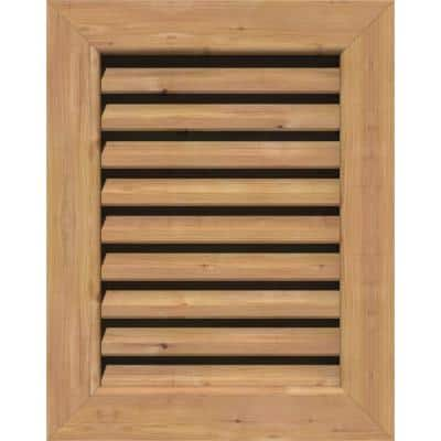 19 in. x 33 in. Rectangular Smooth Western Red Cedar Wood Built-in Screen Gable Louver Vent