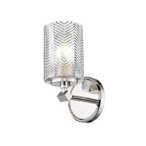 1-Light Polished Nickel Wall Sconce with Clear Glass Shade