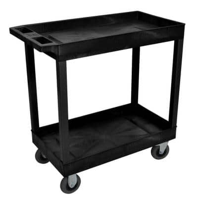 18 in. x 32 in. 2-Tub Shelf Plastic Utility Cart with 5 in. Semi-Pneumatic Casters, Black