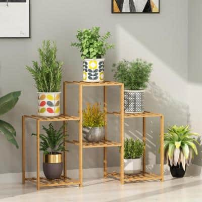 32.5 in. W 6-Cells Outdoor Indoor Garden Wooden Plant Stand Flower Pot Planter Rack