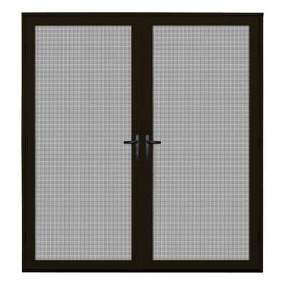 72 in. x 80 in. Bronze Recessed Mount Ultimate Security Screen Door with Meshtec Screen