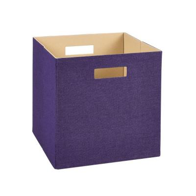 13 in. D x 13 in. H x 13 in. W Purple Fabric Cube Storage Bin