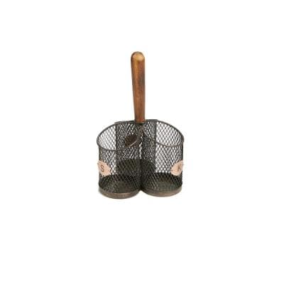 Brown Utensil Caddy Cutlery Holder Flatware with Silverware Organizer and Wood Handle