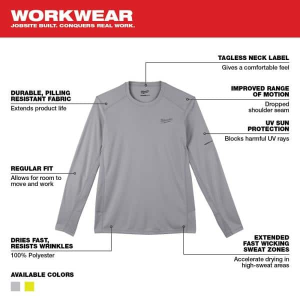 Milwaukee Gen Ii Men S Work Skin Extra Large Gray Light Weight Performance Long Sleeve T Shirt 415g Xl The Home Depot